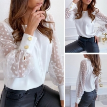 Sexy Dots Gauze Spliced Long Sleeve Round Neck Blouse