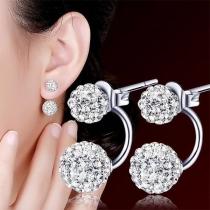 Fashion Rhinestone Inlaid Ball Shaped Stud Earrings
