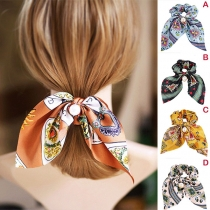 Fresh Style Pearl Pendant Colorful Printed Hairband