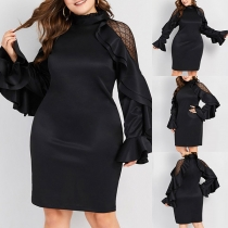 Sexy Hollow Out Gauze Spliced Trumpet Sleeve Slim Fit Dress