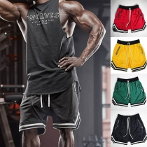 Sports Style Contrast Color Elastic Waist Man's Shorts
