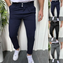 Fashion Solid Color High Waist Man's Pants