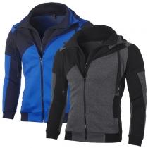 Fashion Contrast Color Long Sleeve Hooded Man's Sweatshirt Coat