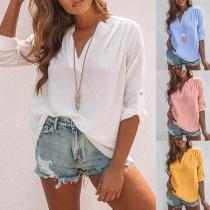 Fashion Solid Color Long Sleeve V-neck Slit Hem Blouse