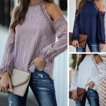 Sexy Off-shoulder Long Sleeve Round Neck Lace Top