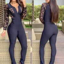Sexy Lace Spliced Long Sleeve V-neck High Waist Slim Fit Jumpsuit