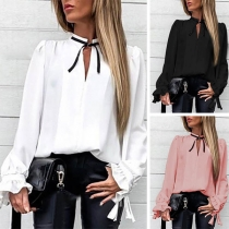 OL Style Long Sleeve V-neck Solid Color Blouse(The size runs big)