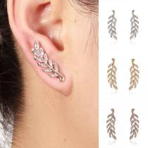 Fashion Rhinestone Inlaid Leaf Shaped Stud Earrings