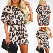Fashion Short Sleeve Round Neck Leopard Printed Romper(The size runs small)