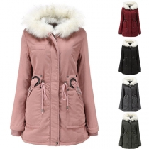 Fashion Solid Color Faux Fur Spliced Hooded Padded Coat