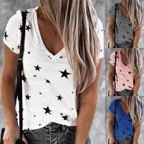 Fashion Short Sleeve V-neck Star Printed T-shirt
