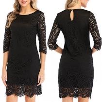 Elegant Solid Color 3/4 Sleeve Round Neck Slim Fit Lace Dress