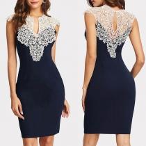 Sexy Lace Spliced Sleeveless V-neck Slim Fit Dress