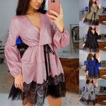 Sexy V-neck Lace Spliced Hem Long Sleeve Dress