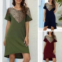 Fashion Leopard Spliced Short Sleeve Round Neck Dress