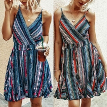 Sexy Backless V-neck High Waist Striped Sling Dress