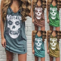 Chic Style Sleeveless Skull Head Printed Ripped T-shirt Dress