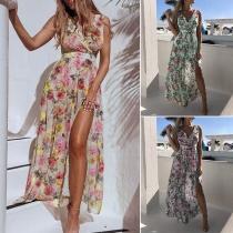 Sexy V-neck Slit Hem Sleeveless Printed Dress