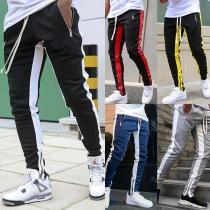 Fashion Contrast Color Drawstring Waist Man's Sports Pants