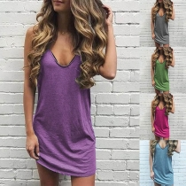 Simple Style Sleeveless V-neck Solid Color Dress