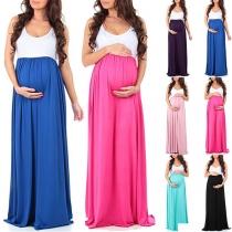 Fashion Contrast Color Sleeveless Round Neck Maternity Dress