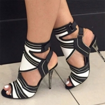 Sexy Contrast Color High Heel Peep Toe Sandals