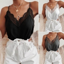 Sexy Backless V-neck Lace Spliced Sling Top