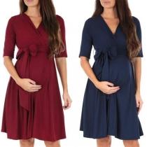 Fashion Solid Color Half Sleeve V-neck Maternity Dress