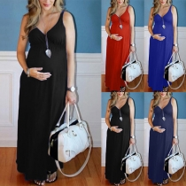 Sexy V-neck Solid Color High Waist Sling Maternity Dress