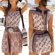 Bohemian Style Sleeveless Round Neck Printed Dress(Without Belt)