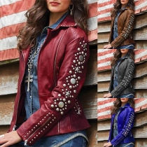 Punk Style Long Sleeve Oblique Zipper Rivets Jacket