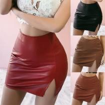 Sexy High Waist Slit Hem Solid Color PU Leather Skirt