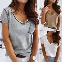 Fashion Solid Color Short Sleeve V-neck T-shirt