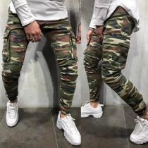 Fashion Camouflage Printed Side-pocket Man's Casual Pants