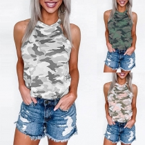 Fashion Camouflage Printed Halter Top