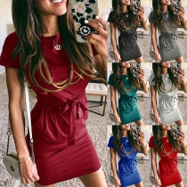 Fashion Solid Color Short Sleeve Round Neck Dress with Waist Strap