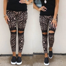 Sexy Hollow Out Lace Spliced Leopard Printed Pants