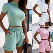 Fashion Solid Color Short Sleeve Crop Top + High Waist Shorts Two-piece Set(The size runs small)