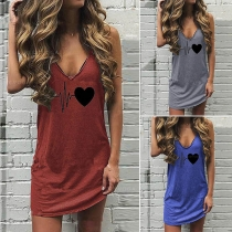 Casual Style Heart printed V-neck Sling Dress