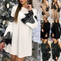 Fashion Lace Spliced Long Sleeve Round Neck Dress