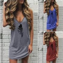 Casual Style Leaf Printed V-neck Sling Dress