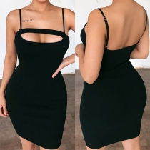 Sexy Backless Hollow Out Solid Color Slim Fit Sling Dress