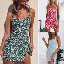 Sexy Backless Slit Hem Slim Fit Printed Sling Dress