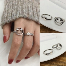 Retro Style Silver-tone Star/Smiling-face Ring