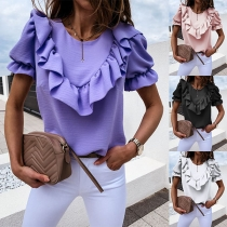 Fashion Solid Color Puff Sleeve Round Neck Ruffle Top