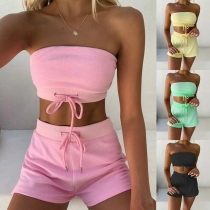 Sexy Solid Color Bandeau Top + Shorts Two-piece Set
