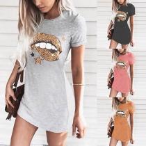 Fashion Leopard Spliced Lip Printed Short Sleeve T-shirt Dress
