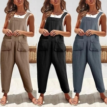 Fashion Solid Color Front-pocket Loose Overalls
