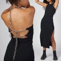 Sexy Backless Slit Hem Solid Color Slim Fit Chain Halter Dress