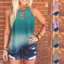 Fashion Sleeveless Round Neck Leopard/Tie-dye Printed Top